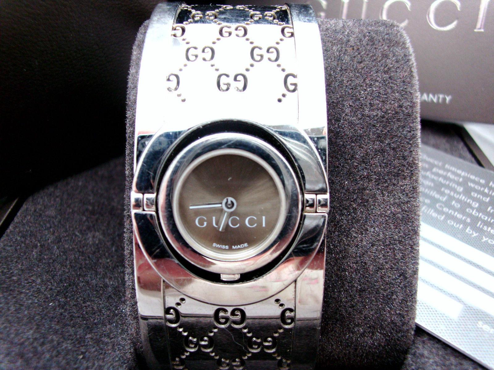 4717434f850 Gucci Twirl Watch 112 Brown Guccissima Stainless Bangle Cuff Bracelet w All  EUC