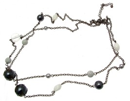 Beaded Necklaces Statement Necklaces Black And White Bead Necklaces Code... - $16.32