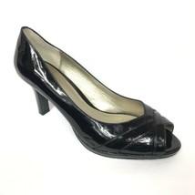 Liz Claiborne Women's Peep Toe Pumps Black Faux Patent Leather Size 11M ... - $24.02
