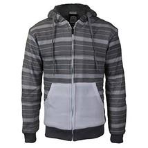 vkwear Men's Two Tone Sherpa Lined Fleece Zip Up Hoodie (2XL, White/Heather)