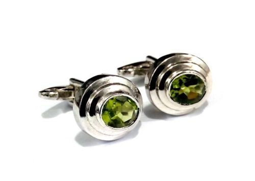 925 Sterling Silver Natural Peridot Gemstone Artistic Design Handcrafted Men's C