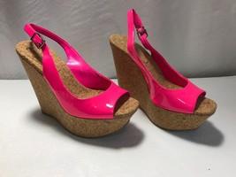 JESSICA SIMPSON *AMANDE* Hot Pink Platform Wedge Slingback Sandal Size 6M - $35.95