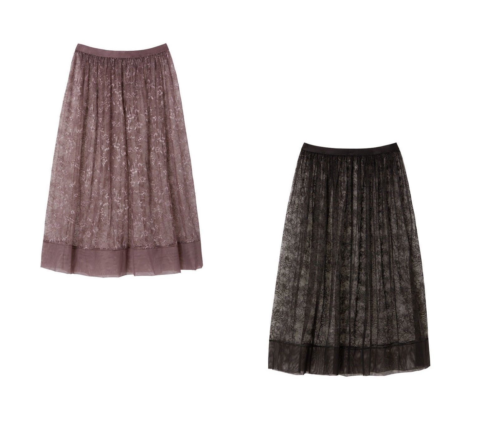 a9c69d6b28 NWT VS Victoria's Secret Floral Lace Midi Skirt Cocoa Blush and Black -  $24.39 - $24.99