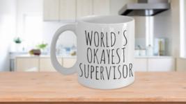 Worlds Okayest Supervisor Mug Day Birthday Office Gag Gift Boss Work Sup... - $14.65+