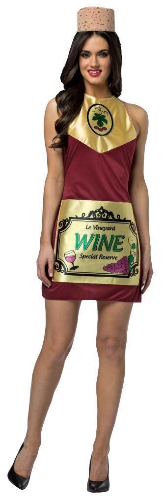 Wine Bottle Womens Costume Dress Adult Alcohol Wino Halloween Unique GC6333
