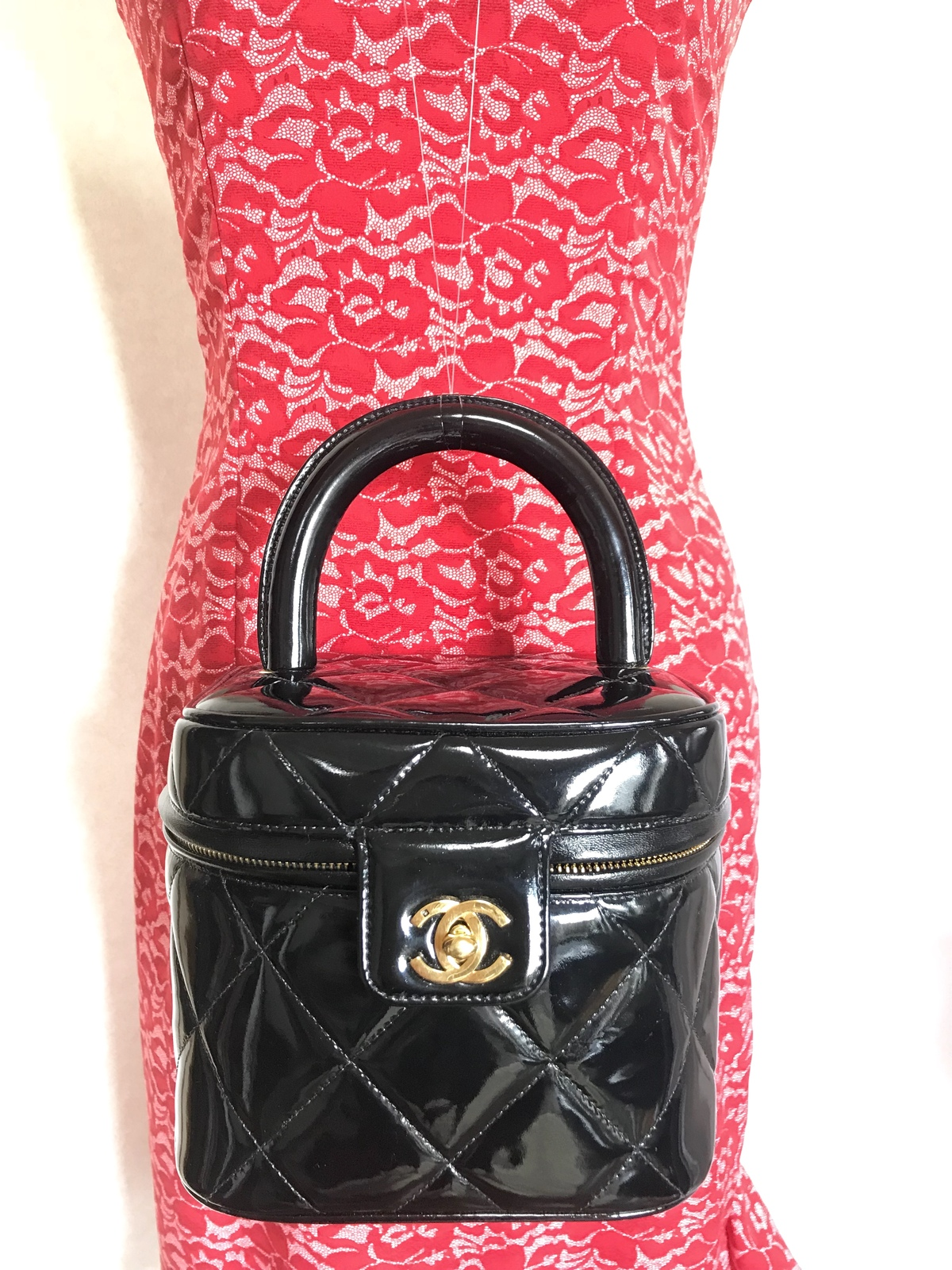 e3102ba524b838 Vintage CHANEL black patent enamel quilted and 50 similar items