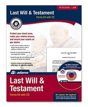 Adams Last Will and Testament Kit, Forms and Instructions, Includes CD K307 - $33.66