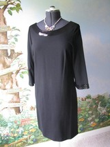 Ann Taylor Women Black Sequins Neck-line Cocktail  3/4 Sleeve Dress Size... - $39.55