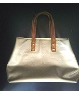 Auth Louis Vuitton Vernis Hand Bag Silver Patent Leather Logo Pouch LVB0851 - $192.06