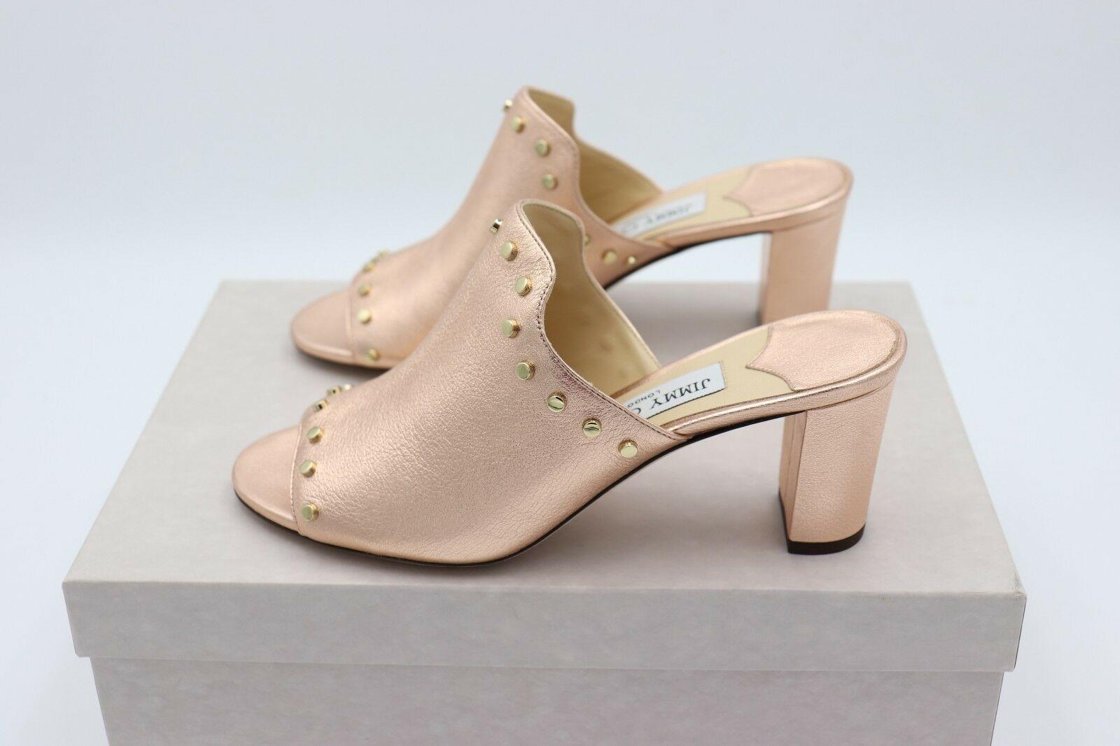 NIB Jimmy Choo Myla 65 Pink Metallic Leather Mules Sandals Gold Studs 7 37