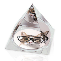 "Hipster Glasses Cat Photograph Funny Gift 2"" Crystal Pyramid Paperweight - $15.99"
