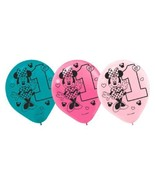 """Minnie Fun To Be One Birthday Party Latex 12"""" Balloons 6 Ct - $5.12"""