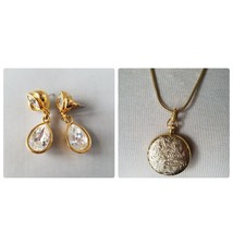 Vintage Signed Napier Gold Tone Drop Earrings & Matching Locket Necklace... - $30.68