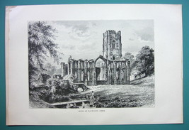 ENGLAND Remains of Fountains Abbey - 1890s Antique Print - $7.27