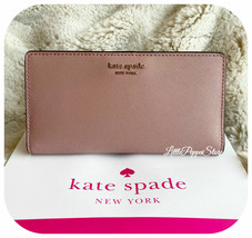 KATE SPADE LEATHER CAMERON LARGE SLIM BIFOLD WALLET IN DUSTY PEONY - $54.33
