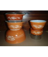 SET OF PYREX MIXING BOWLS CASSEROLES STORE & SEE AUTUMN HARVEST WHEAT  - $46.74