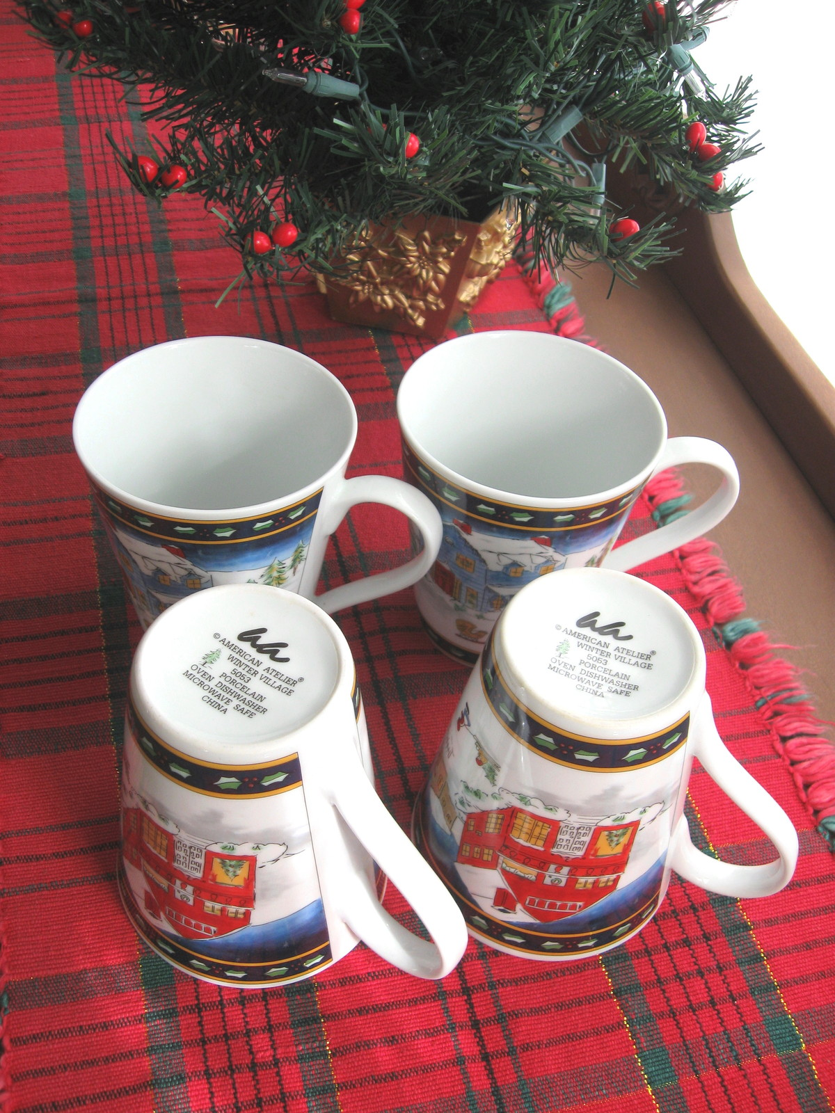 Set of Four (4) American Atelier Winter Village Porcelain Mugs - New in Box