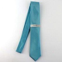 Alfani Neck Tie Aqua Blue Avenue Solid 100% Silk Slim Skinny Mens New image 2