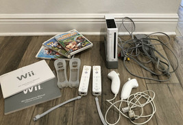 Nintendo Wii Game Console Bundle W/3 Games Controllers Nunchucks Preowned - $165.53