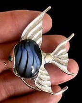 ANGEL FISH Vintage BROOCH Pin in Silver-Tone Blue Glass and Green Rhines... - $22.00