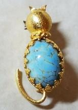 Vintage Blue Howlite Cabochan Kitty Cat Feline Pin Goldtone Whiskers 1.7... - $14.80