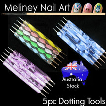 5Pc Nail Art Dotting Tool Double sided with Acrylic Pen Handle Blue Pink... - $4.05