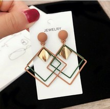 Long Drop EARRINGS Geometric Hollow Square Metal Double Layers - $10.99