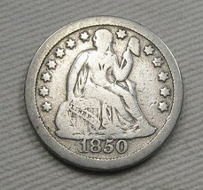 1850 Seated Liberty Dime VG+ Coin AE637 - $30.89