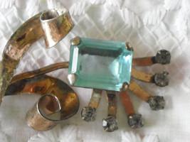 "Vintage Sterling Silver Aquamarine & Rhinestone Flower Brooch Pin 3.5"" x... - $58.95"