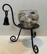 PARTYLITE Iron Candle Holder Snuffer Tiffany Mosaic Calypso Mosaic Bowl ... - $48.02
