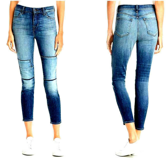 new J BRAND women jeans Jasper Patched JB001098 high rise crop 26 blue MSRP $298