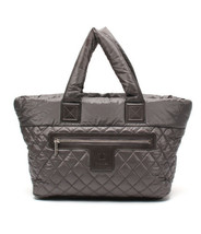 Auth CHANEL Tote Grey Nylon Cocoon bag Matelasse Zipper USED Japan B4905 - $1,314.72