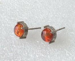 Vintage Faux Amber Silver Tone Stud Earrings 8mm Diameter - $14.69