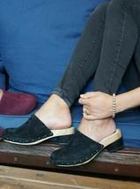Jambu Monaco Black Solid Suede Women's Clog Mule Sandals US 6 M - $56.43
