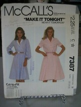 McCall's 7387 Misses Shawl Collar Dresses Pattern - Sizes 12/14/16 Bust ... - $7.34