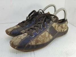 "COACH ""SUEE"" Womens Signature BROWN & Tan Khaki Athletic SNEAKERS Shoes~... - $15.83"