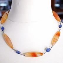Halskette Silber 925, Achat Orange, Kyanit Blau, Halsnah 44 cm, Kette Rolo image 2