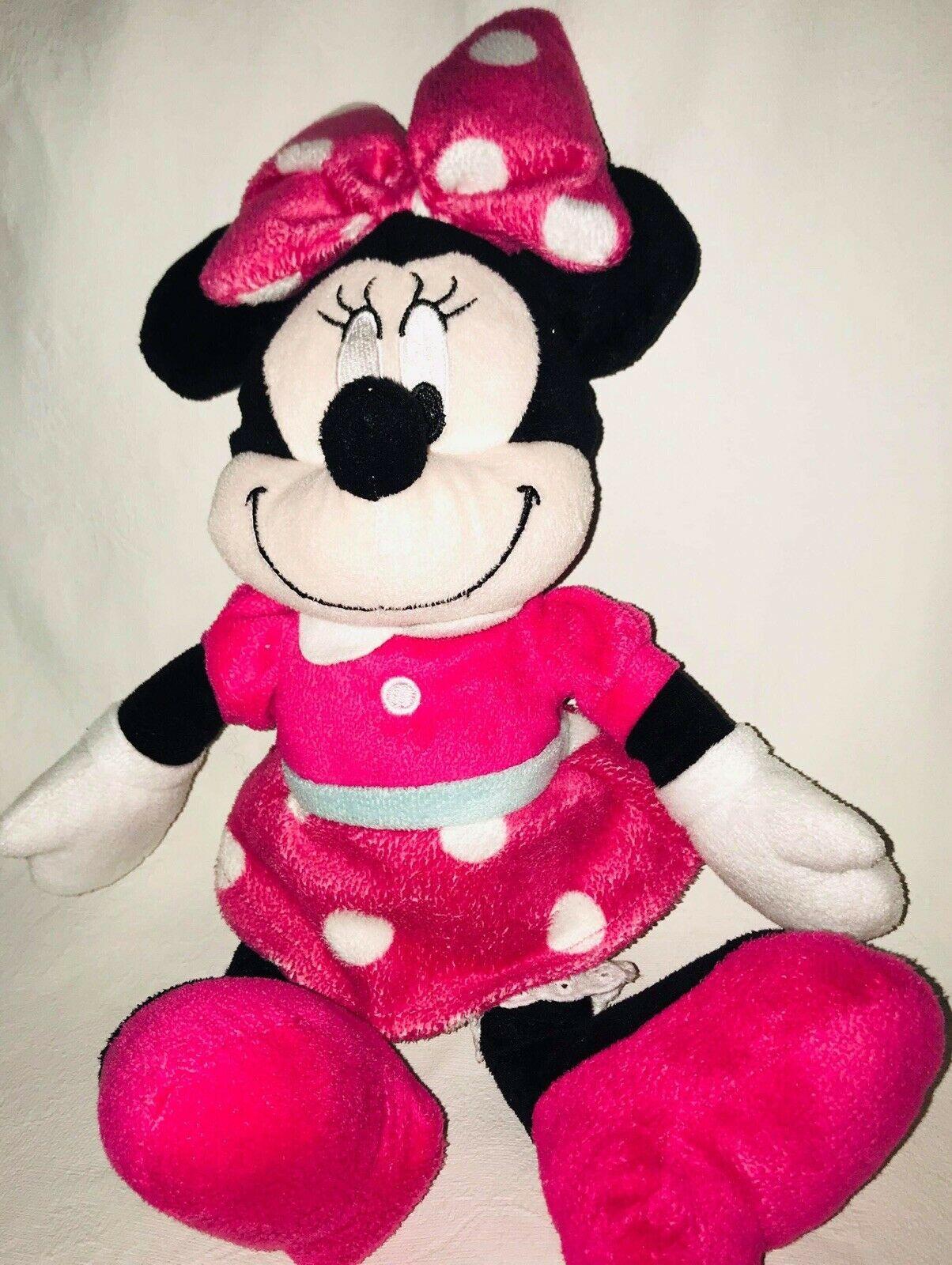 "Disney Minnie Mouse Plush Pink Polka Dot  Stuffed Animal Doll 15"""