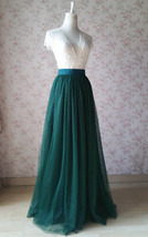 Dark Green Wedding Tulle Skirt with Bow Dark Green Bridesmaid Long Tulle Skirts image 2