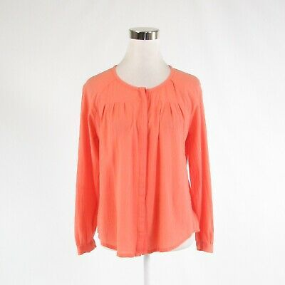 Primary image for Coral orange 100% cotton JOIE 3/4 sleeve button down blouse XS