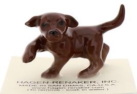 Hagen-Renaker Miniature Ceramic Dog Figurine Chocolate Labrador Sitting with Pup image 3