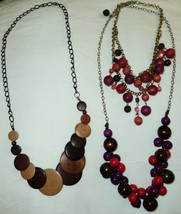 Lot of 3 Wood Necklaces - $10.63