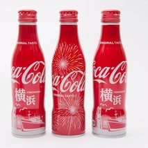 2 Yokohama & Hanabi Coca Cola Aluminum Full bottle 3 250ml Japan Limited - $38.61