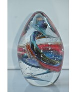 Fred S Wilkerson Contemporary Swirl Bubble '98 Multi-Color Glass Paperwe... - $34.64