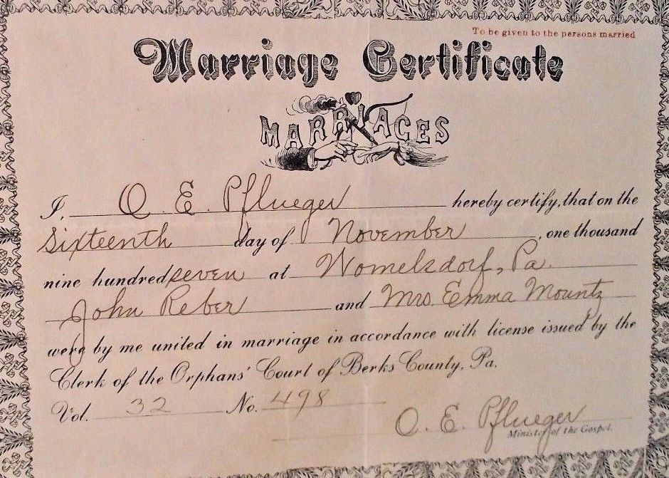 Marriage Certificate 1907 Berks County PA and 50 similar items