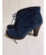 Winter White Mountain Lace Up Snack Ankle Navy Nubuck Bootie Size 6 Pre ... - $18.80