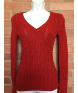American Eagle Women's Sweater S Red Cable Knit V Neck (L42) - $9.89