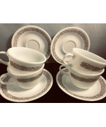 Pyrex Coffee Cups Corelle Matching Saucers 8 Pc Woodland Brown Edging - $29.70