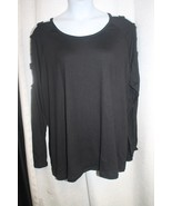 NEW WOMENS PLUS SIZE 4X BLACK SUPER SOFT LADDER CUT OUT SLEEVE TOP SHIRT - $19.34