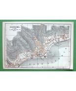 1899 MAP ORIGINAL Baedeker - ITALY City Plan of Sanremo San Remo - $4.39